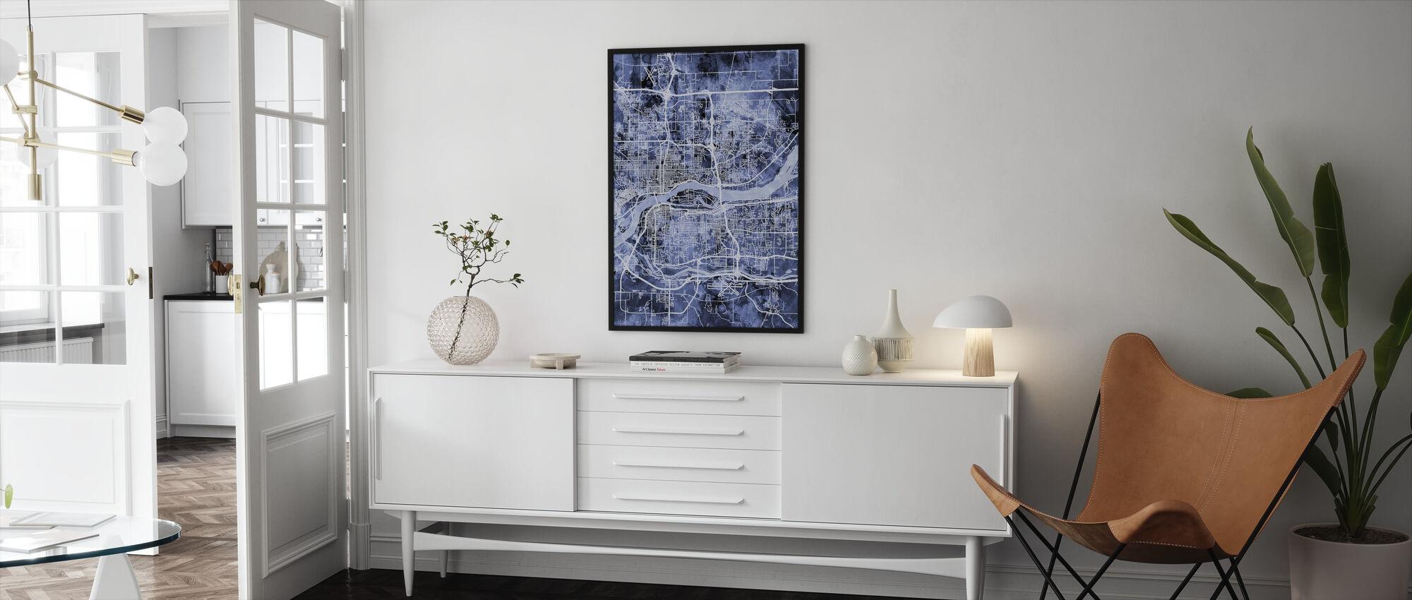 Quad Cities Street Map - Framed print - Living Room