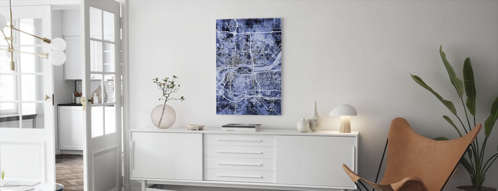 Quad Cities Street Map - Canvas print - Living Room