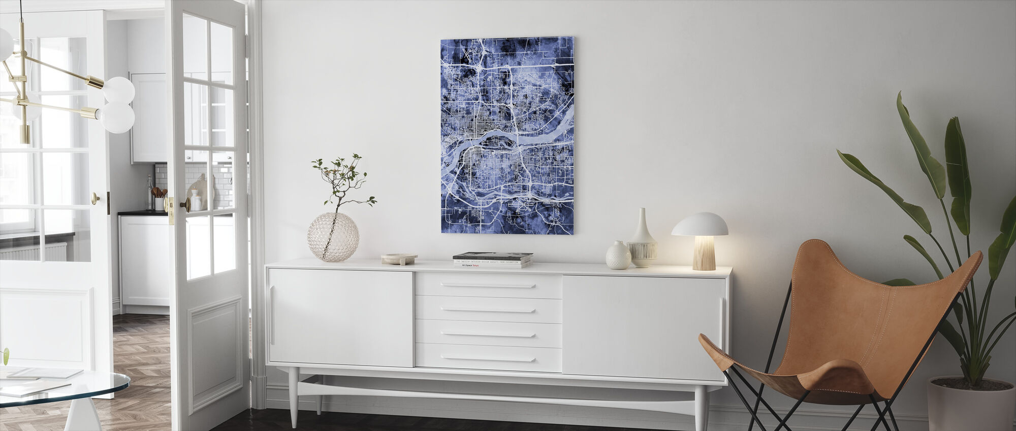 Quad Cities Street Map - Canvas print - Living Room