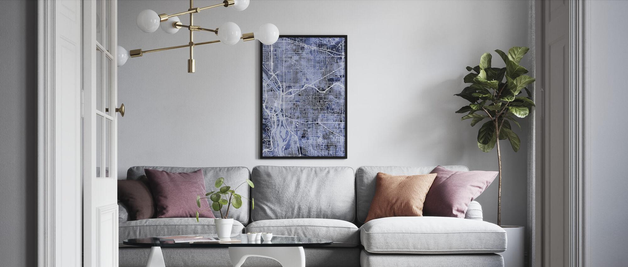 Portland Oregon City Kaart - Ingelijste print - Woonkamer