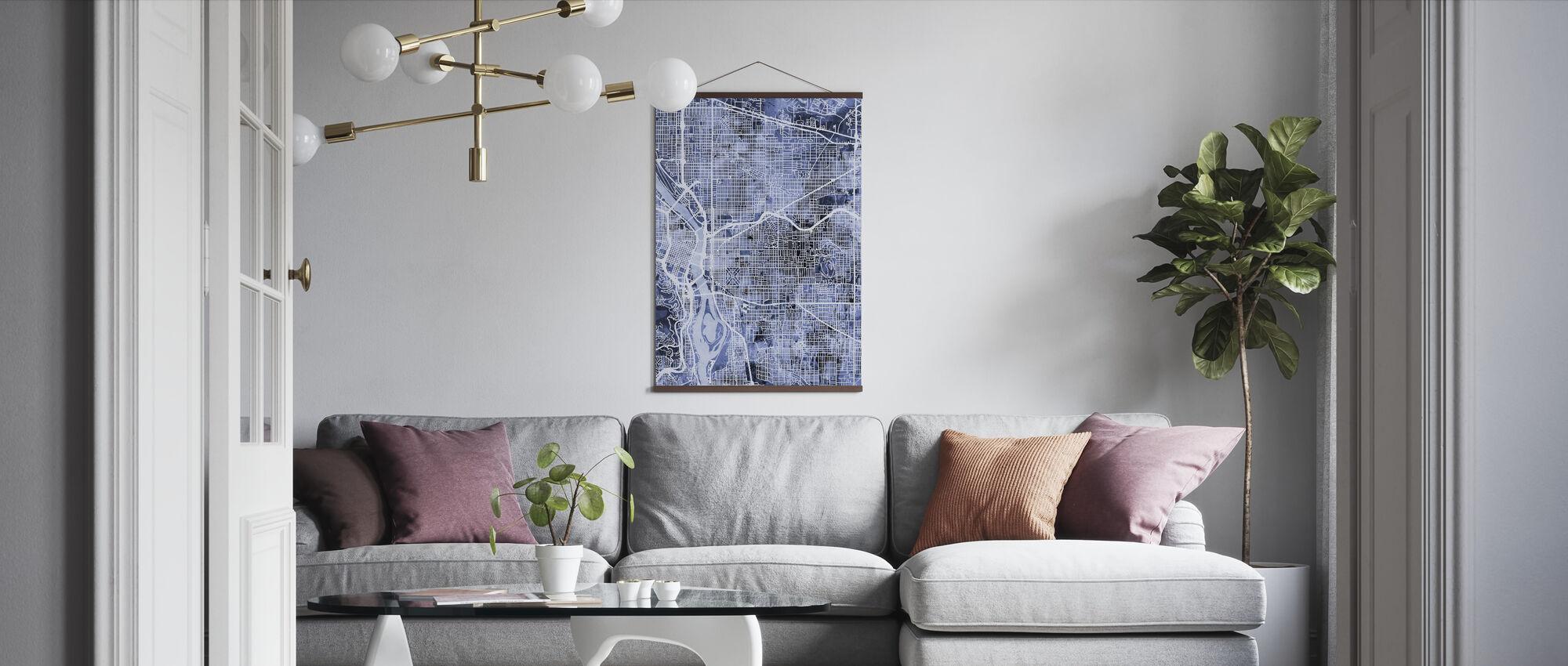 Portland Oregon City Map - Poster - Living Room