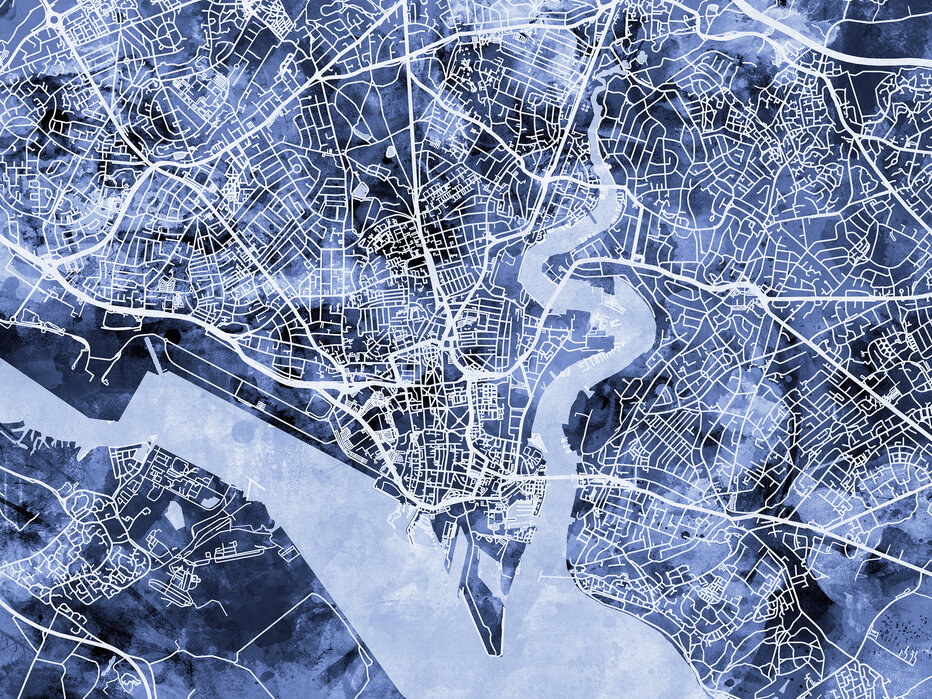 Southampton England City Map Canvakselle Painettu Designtaulu