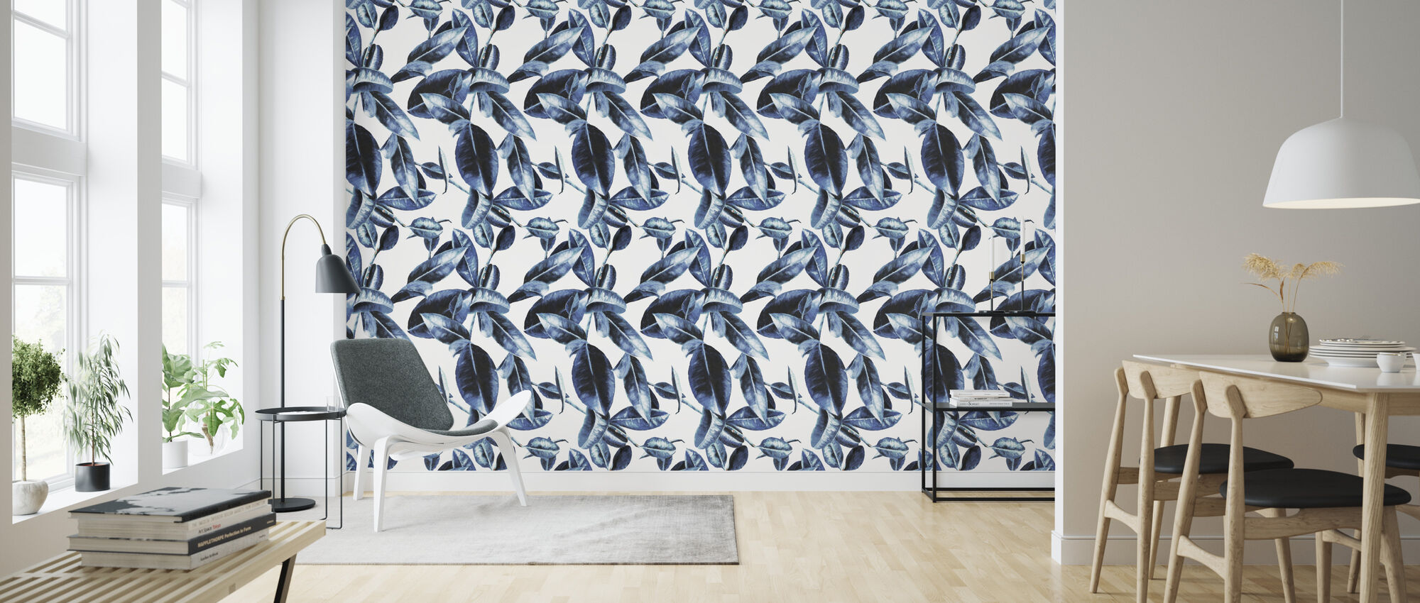 Blue Leaves - Wallpaper - Living Room