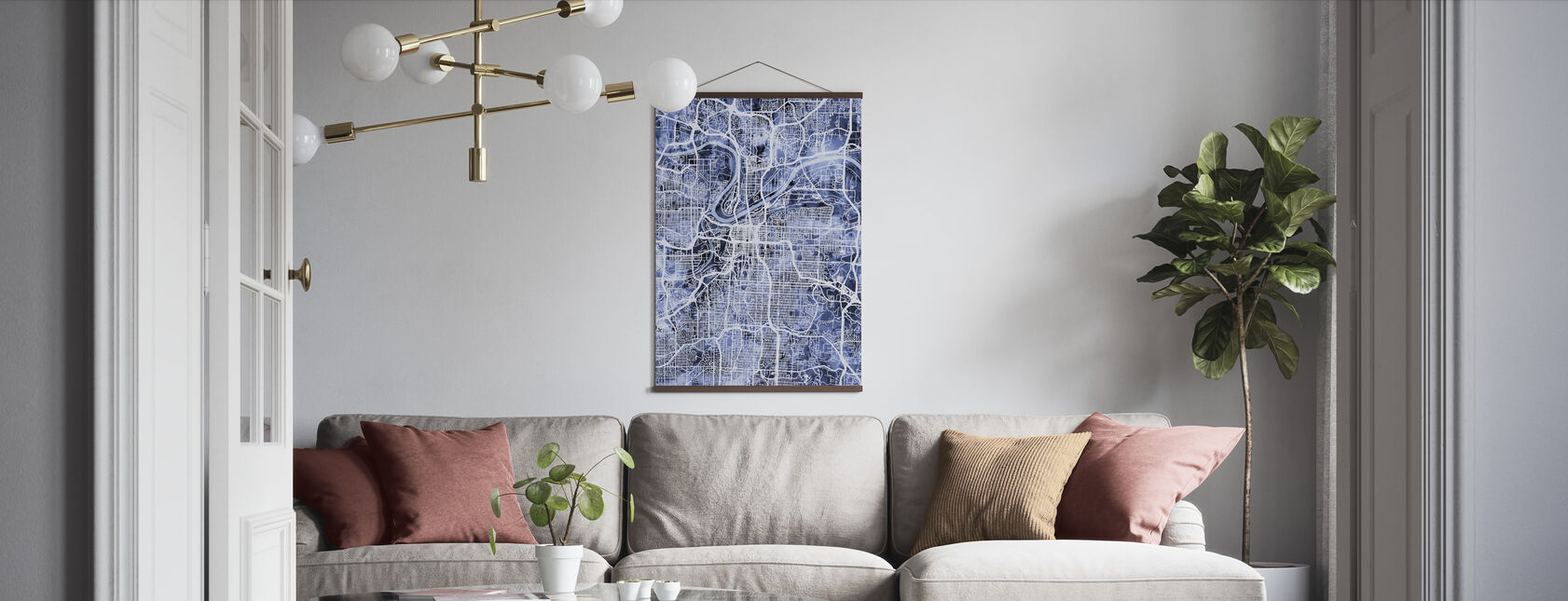 Kansas City Missouri City Map - Poster - Living Room