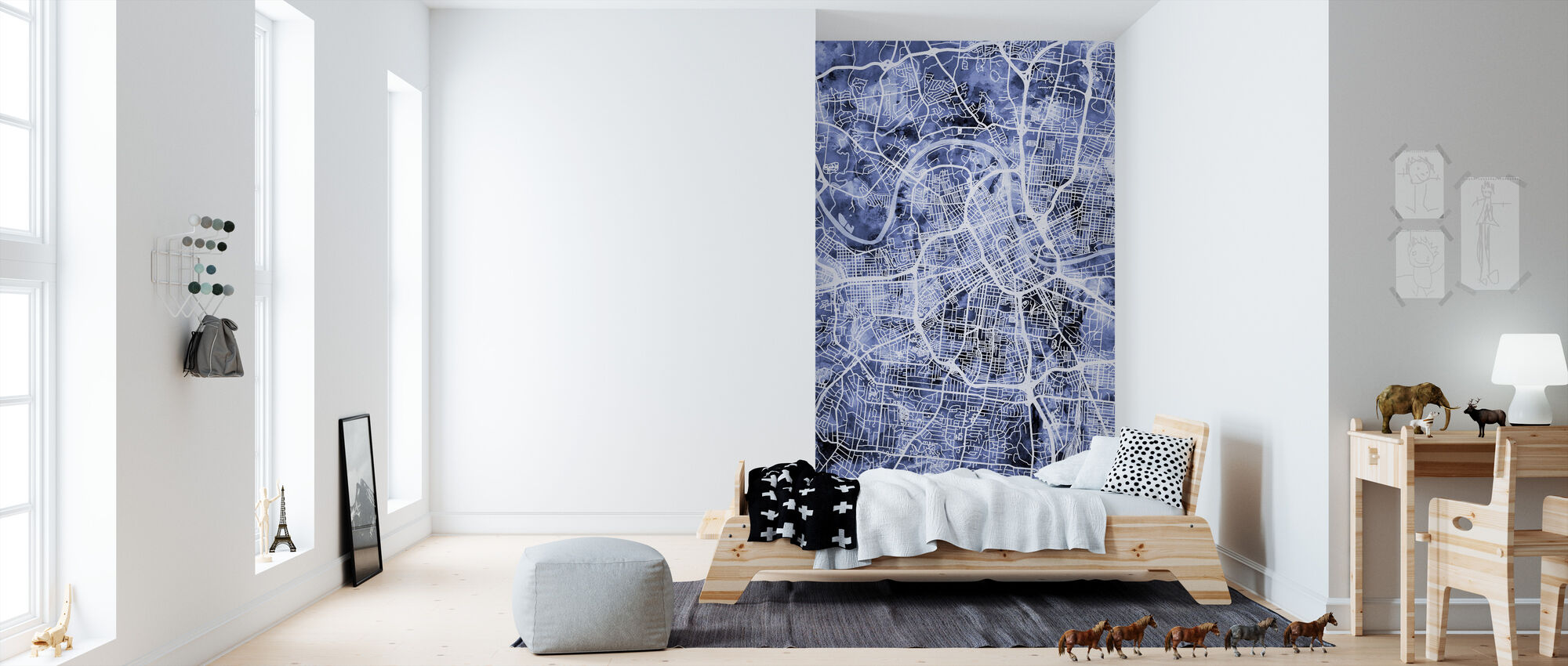 Nashville Tennessee City Map - Wallpaper - Kids Room