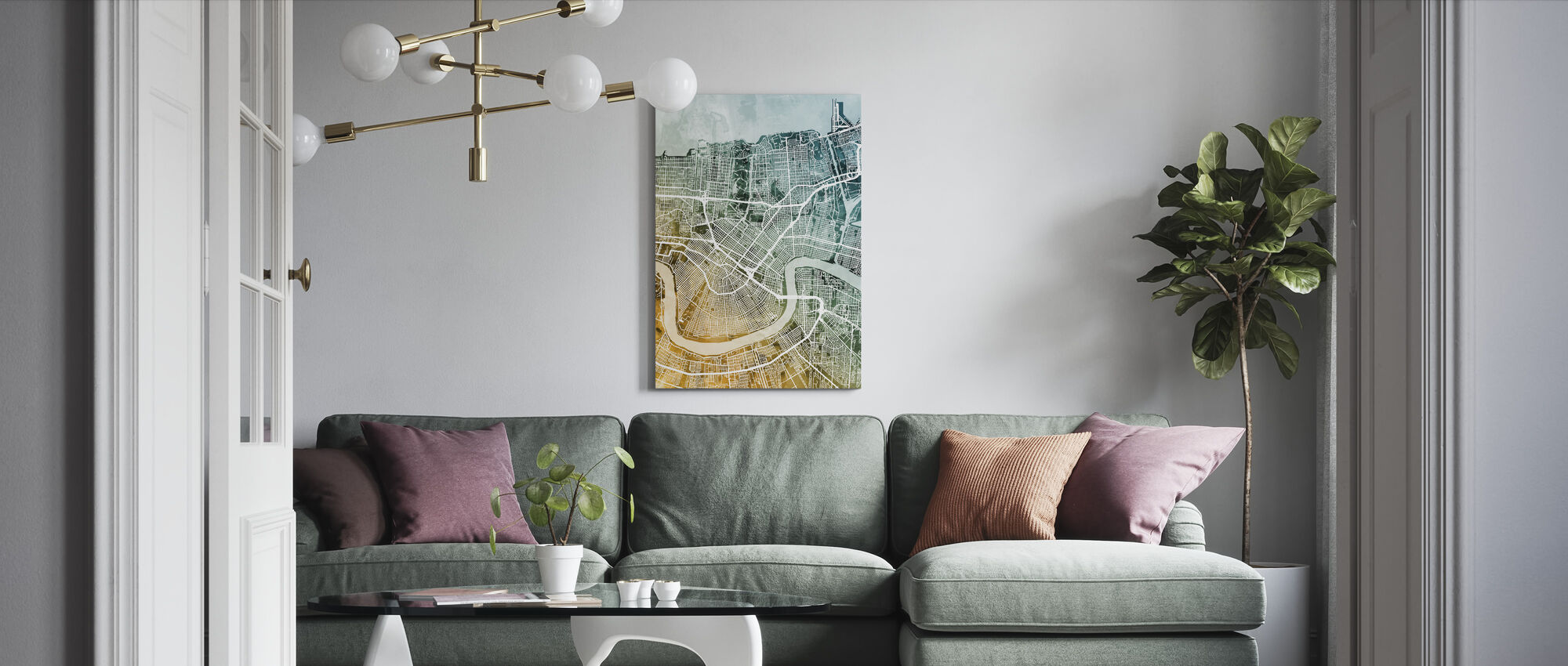 New Orleans City Street Map - Canvas print - Living Room