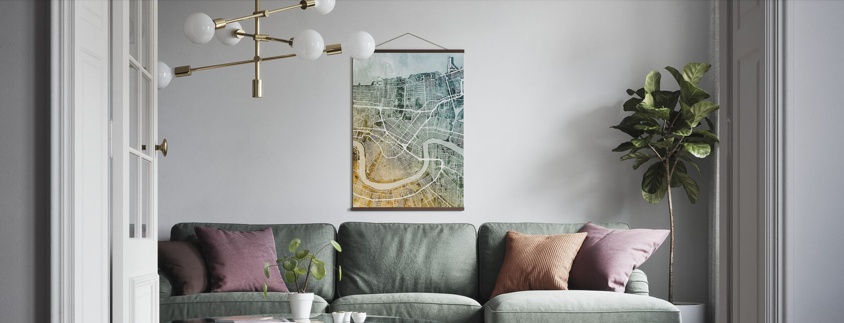 New Orleans City Street Map - Poster - Living Room