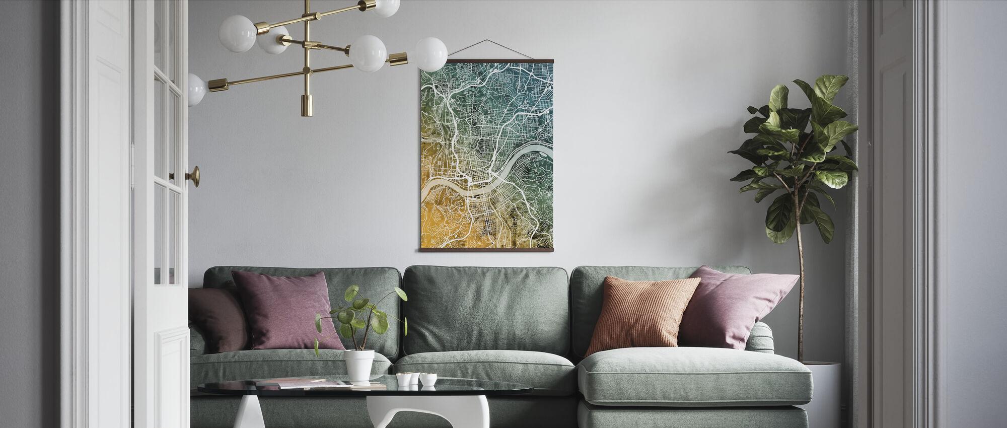 Cincinnati Ohio City Map - Poster - Living Room