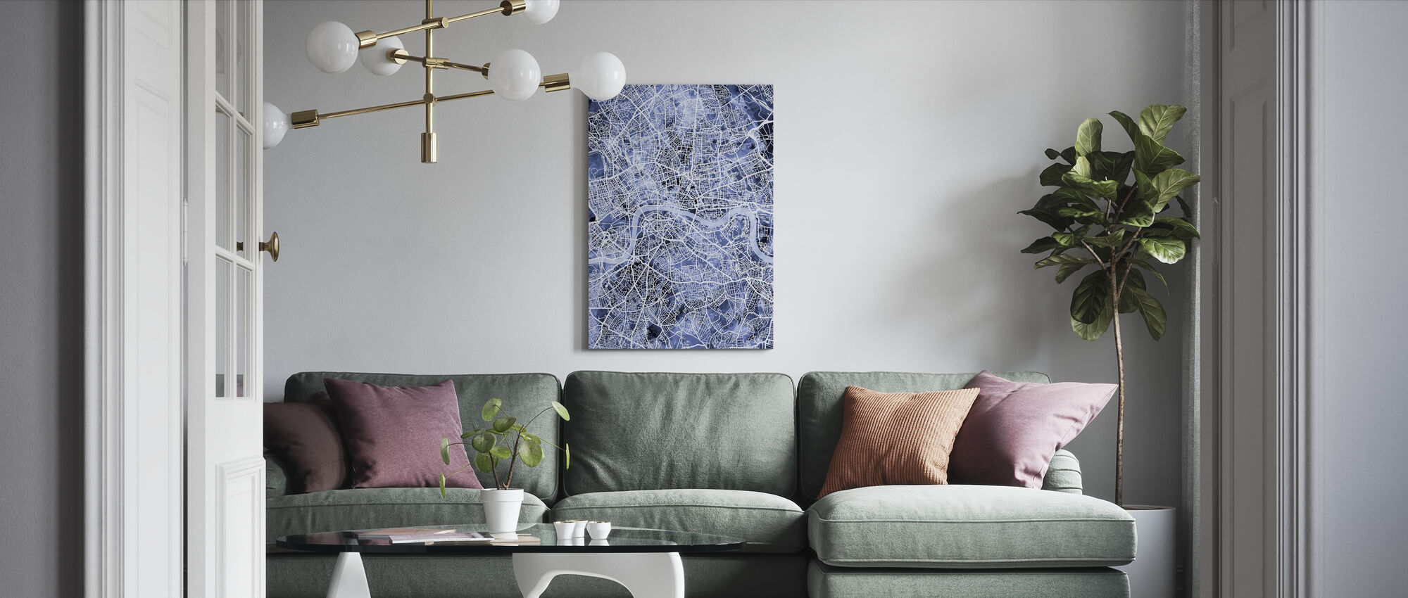 London England Street Map - Canvas print - Living Room