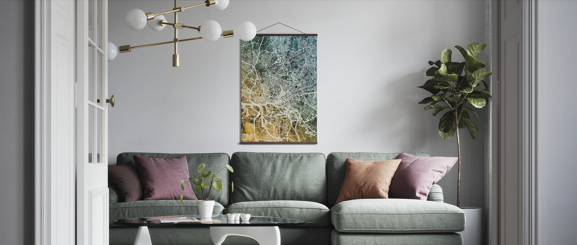 Hamburg Germany City Map - Poster - Living Room