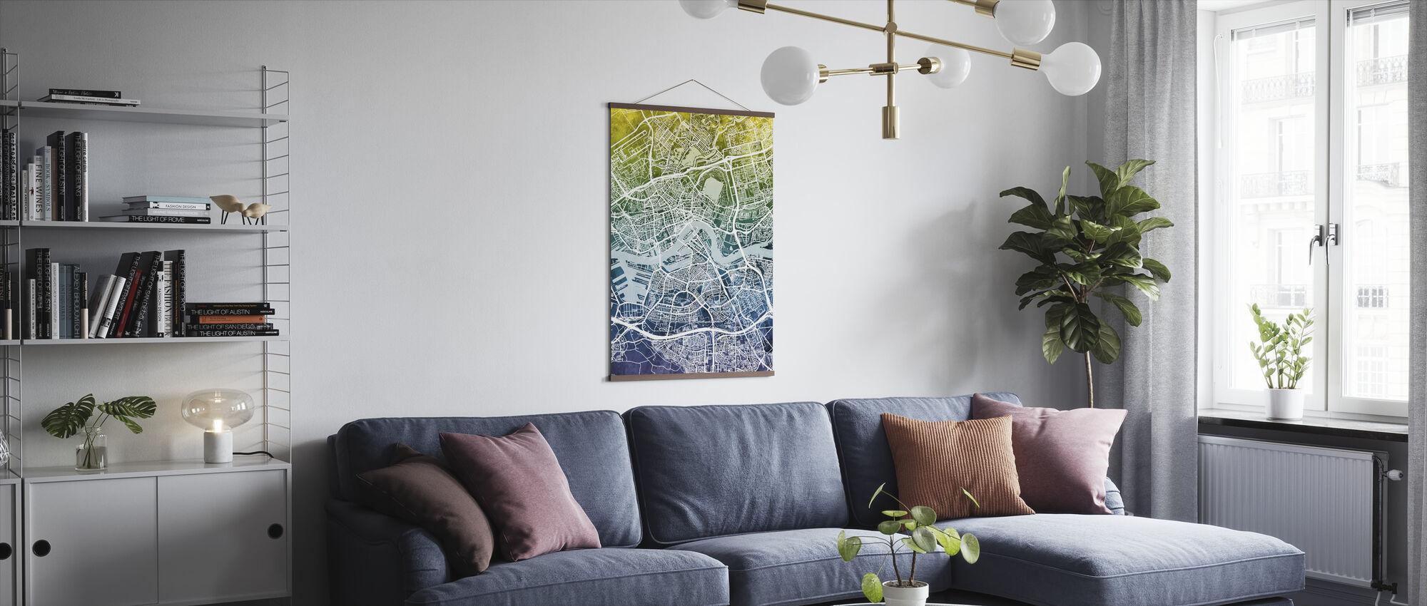Rotterdam Netherlands City Map - Poster - Living Room