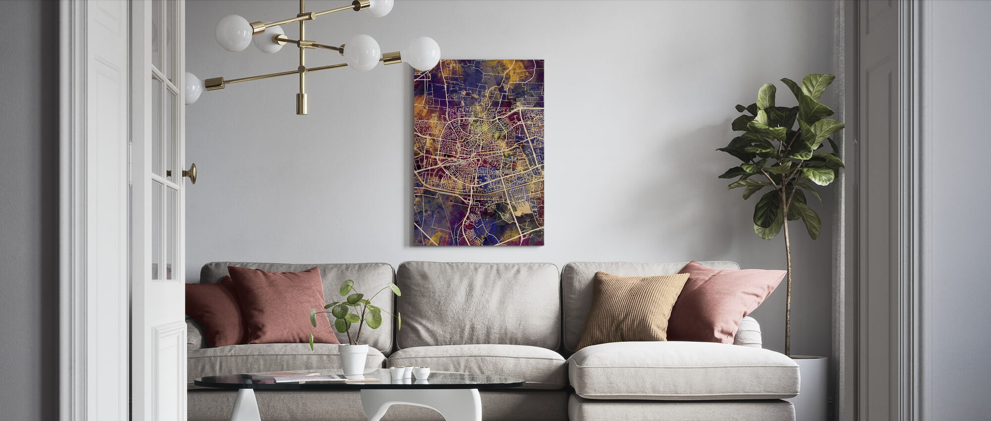 Leeuwarden Netherlands City Map - Canvas print - Living Room
