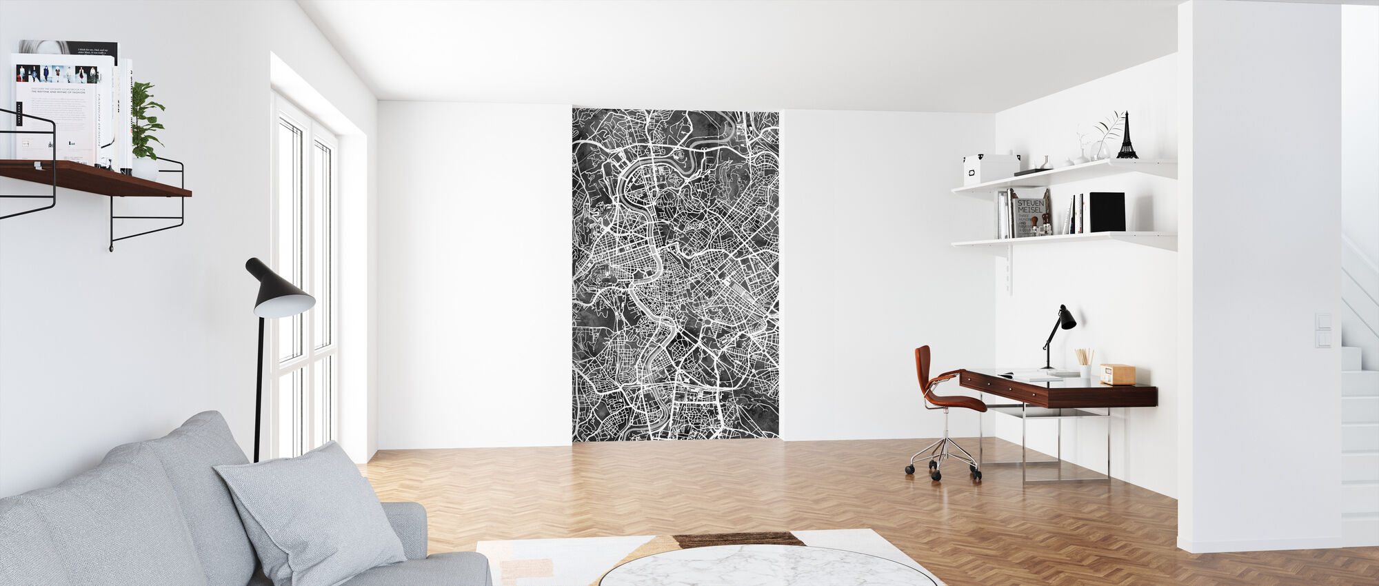 Rome Italy City Map - Wallpaper - Office