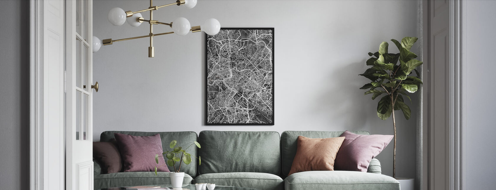 Rome Italy City Map - Framed print - Living Room