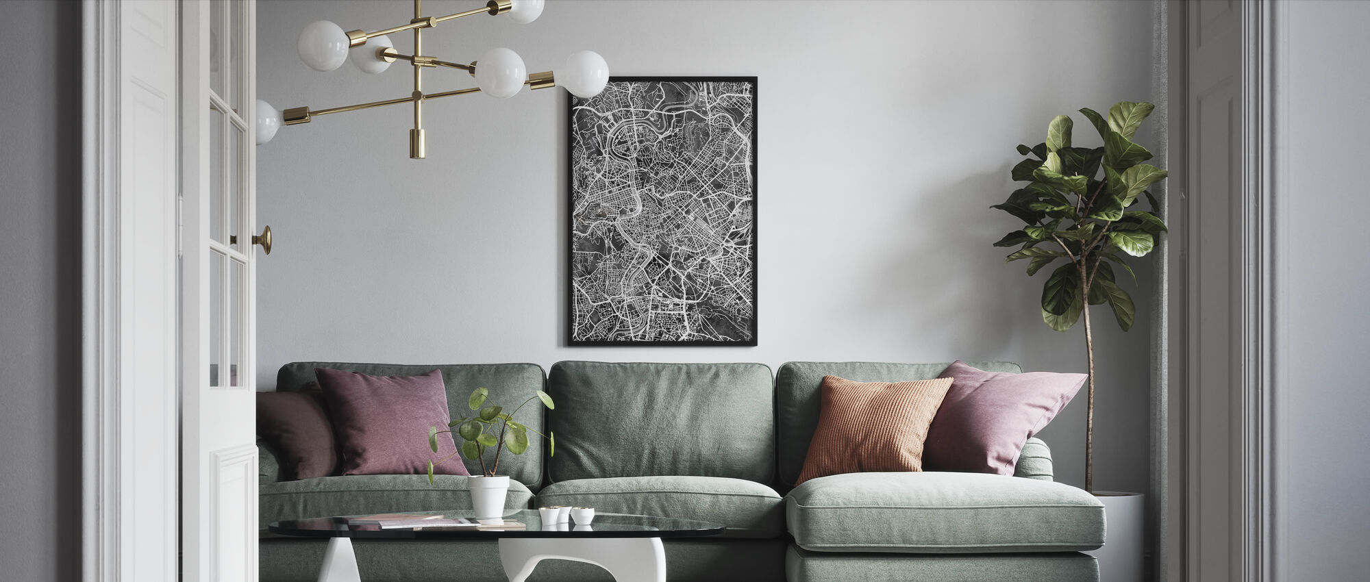 Rome Italy City Map - Framed print - Living Room