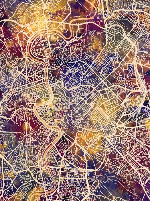 Rome Italy City Map Canvastaulu Mittojen Mukaan Photowall