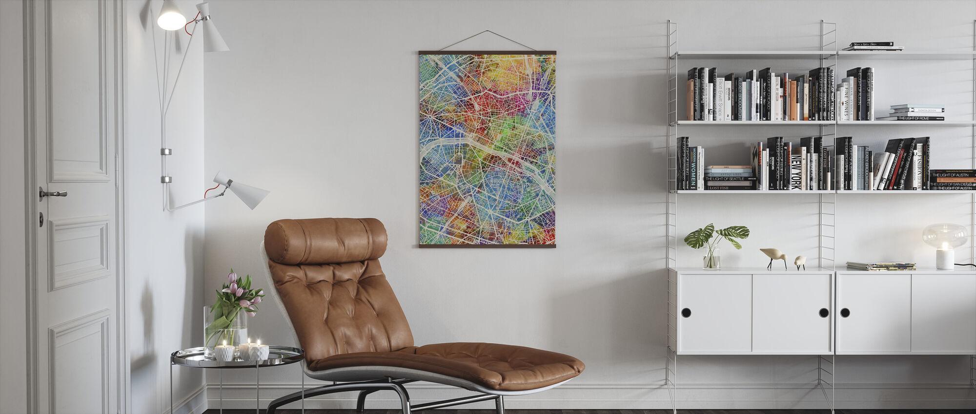 Paris France City Map - Poster - Living Room
