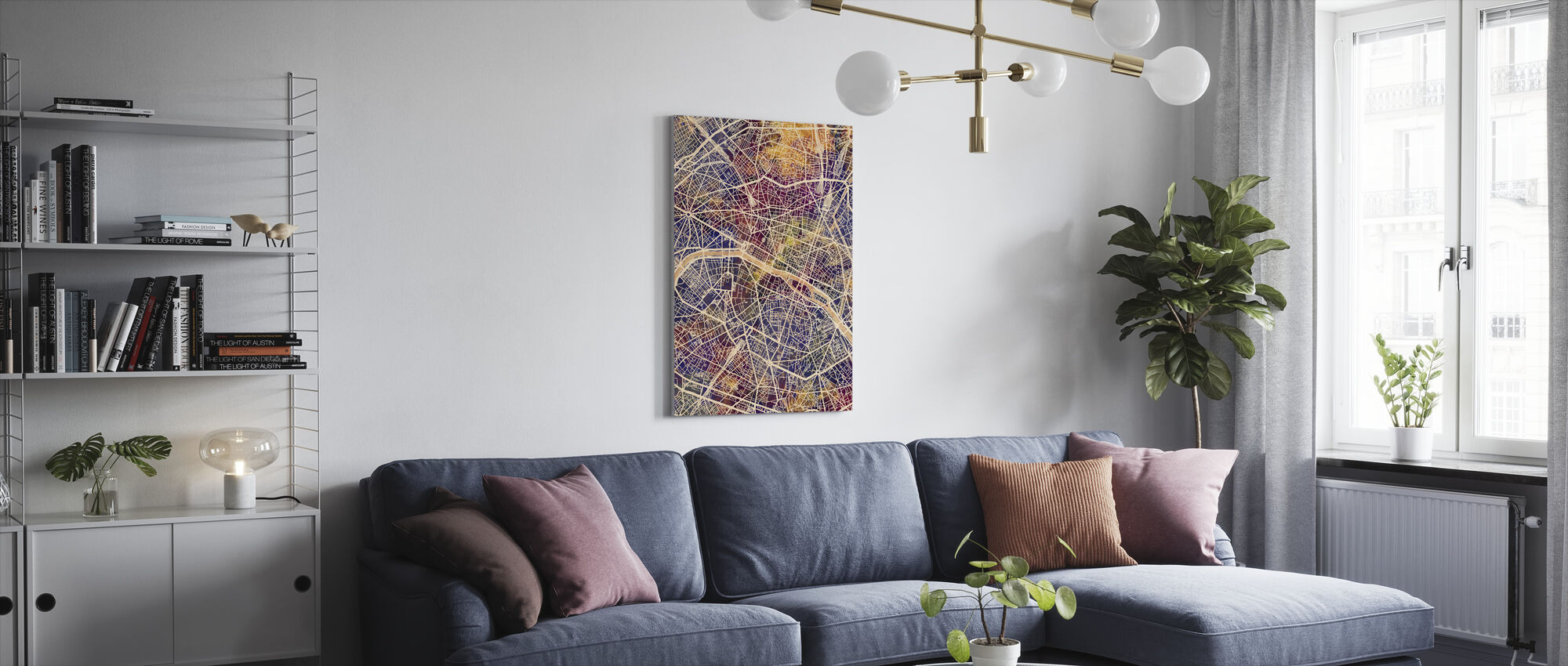 Paris France City Map - Canvas print - Living Room