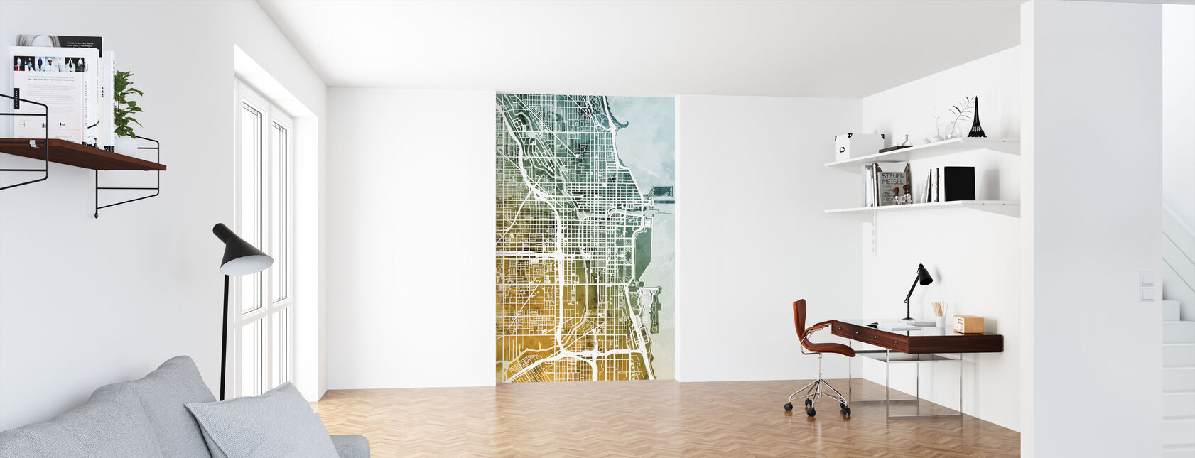 Chicago City Street Kaart - Behang - Kantoor