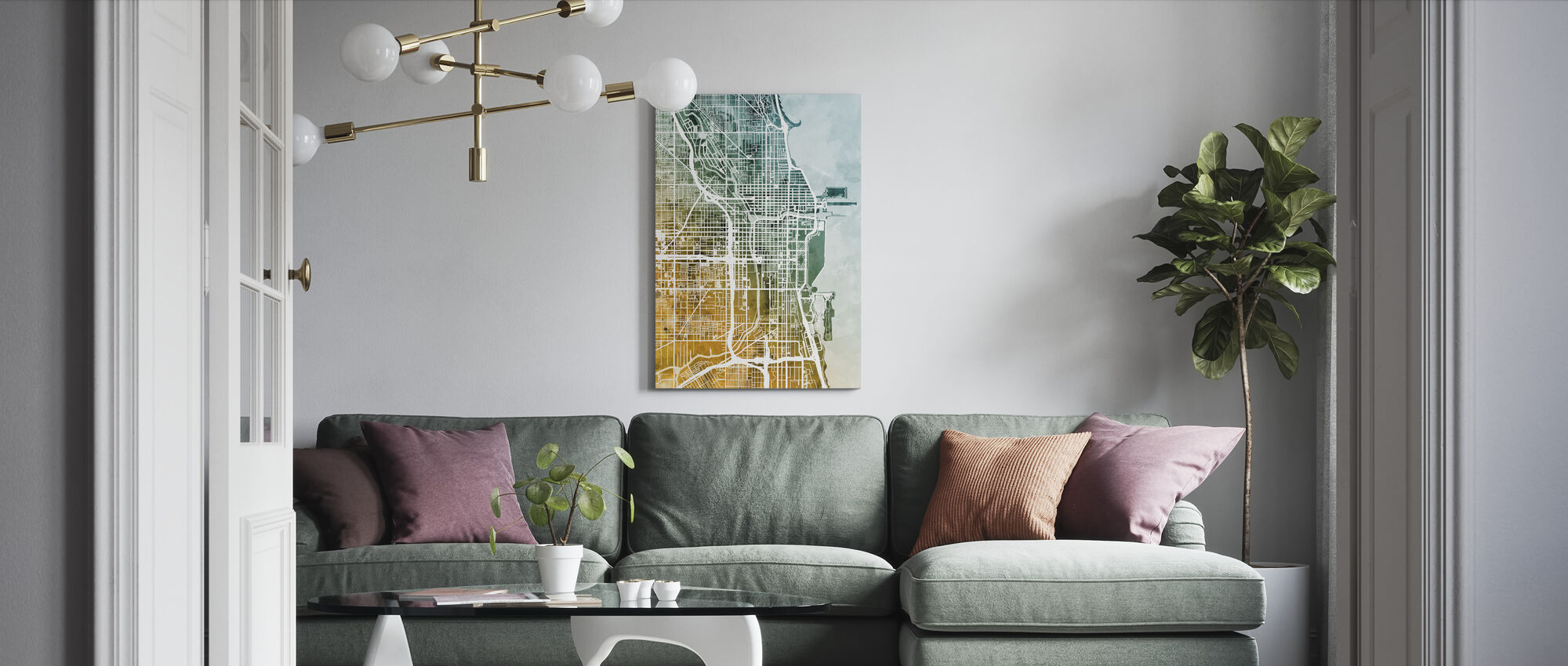 Chicago City Street Map - Canvas print - Living Room