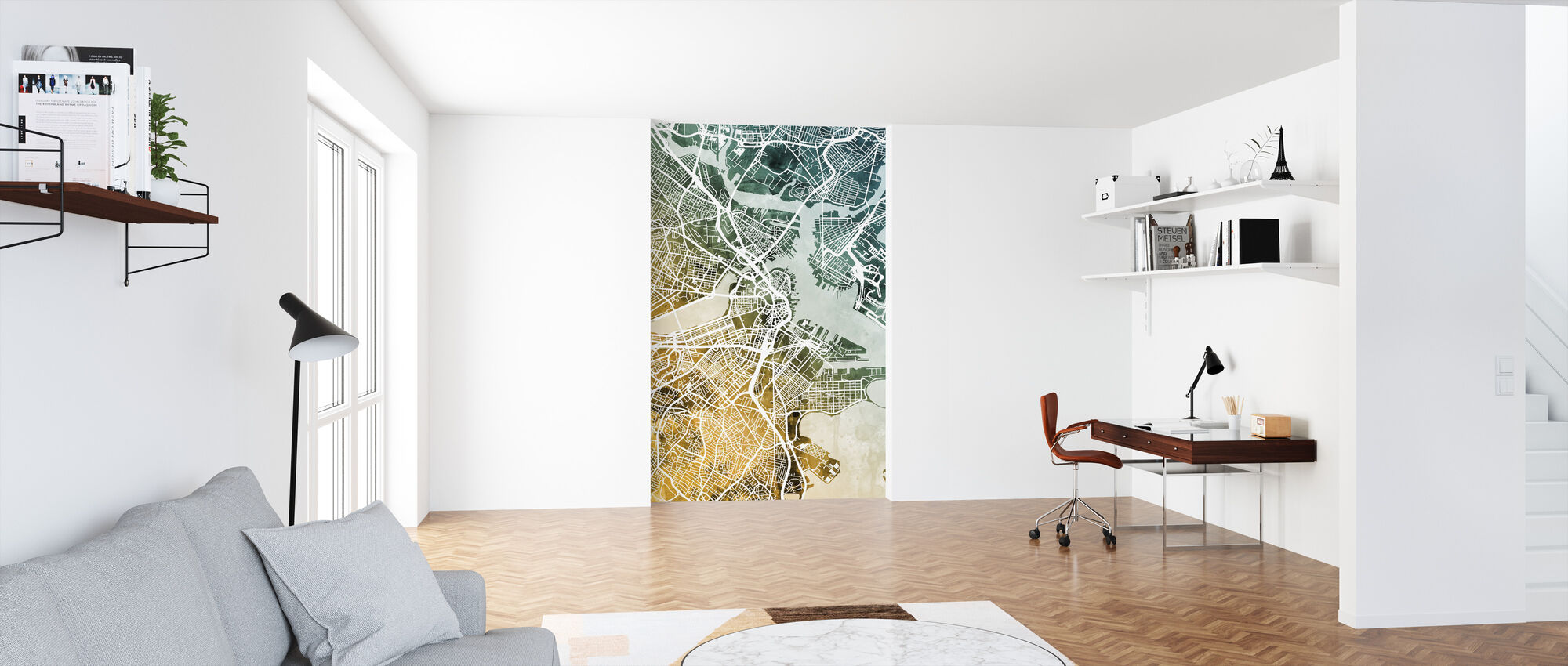 Boston Massachusetts Street Map - Wallpaper - Office