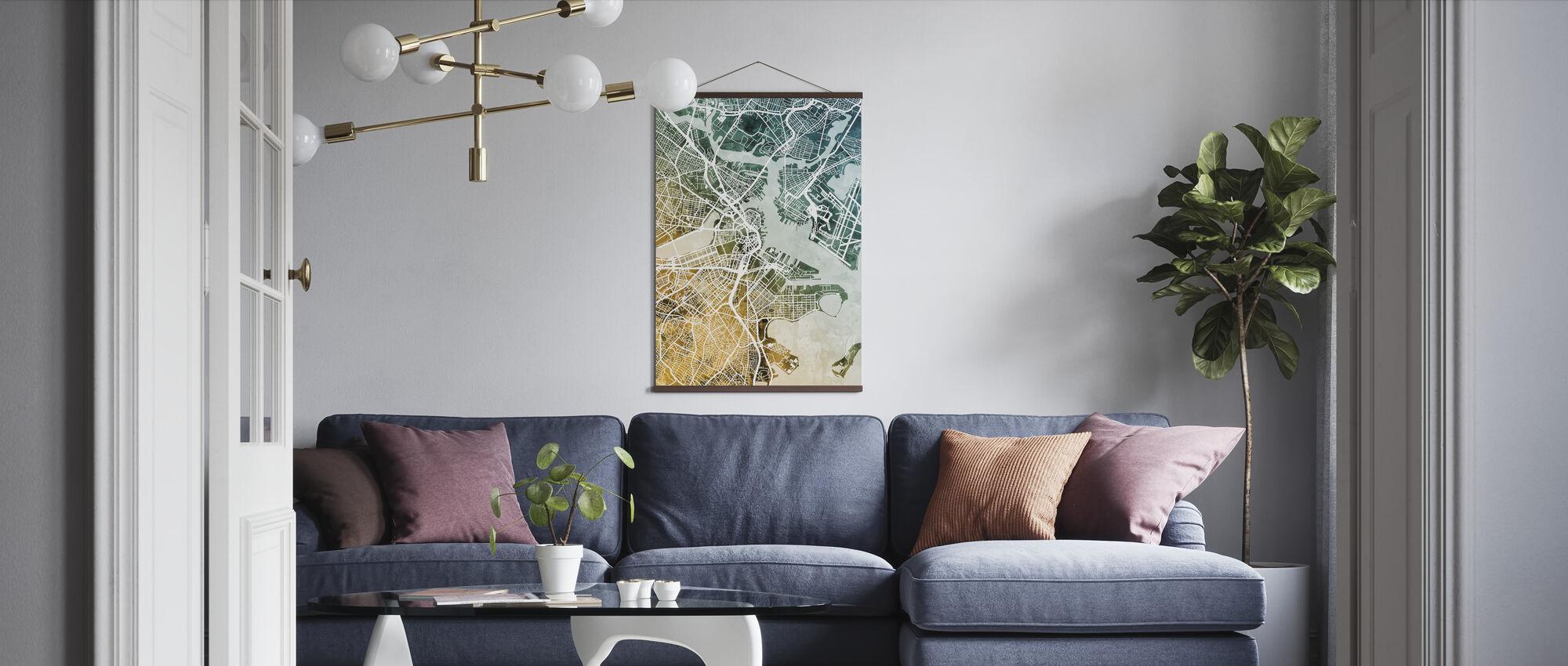 Boston Massachusetts Street Map - Poster - Living Room