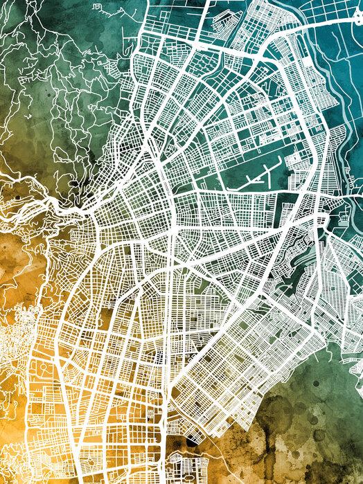 Cali Colombia City Map Popular Wall Mural Photowall