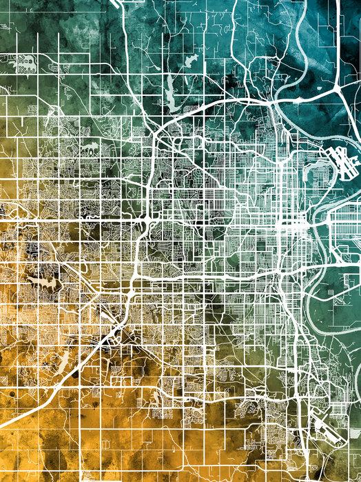 Omaha Nebraska City Map Tilaa Canvastaulu Verkosta Photowall