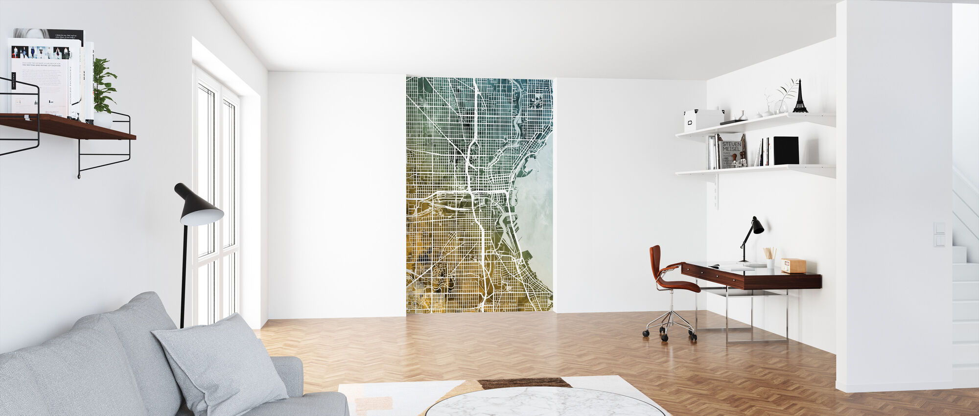 Milwaukee Wisconsin City Map - Wallpaper - Office