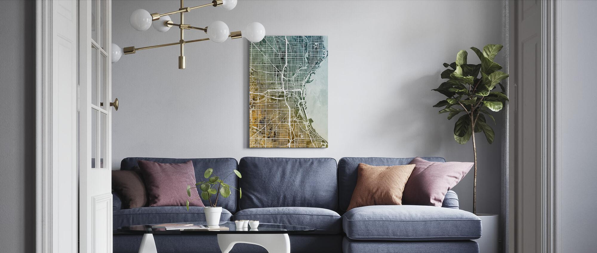 Milwaukee Wisconsin City Kaart - Canvas print - Woonkamer