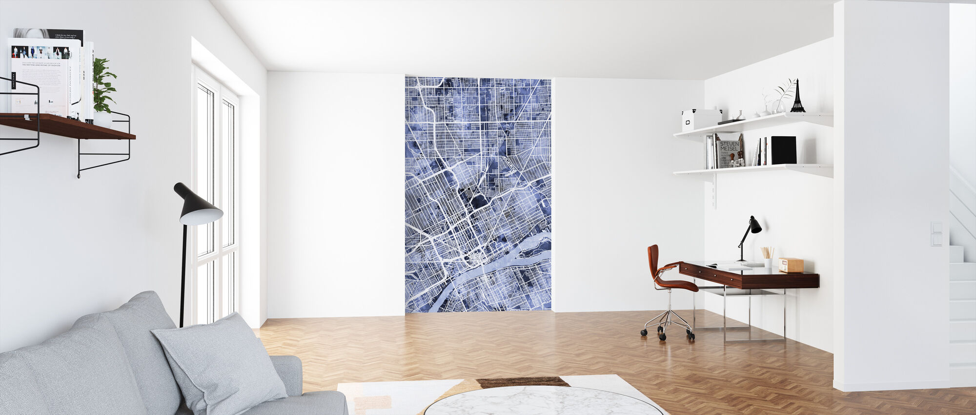 Detroit Michigan City Map - Wallpaper - Office