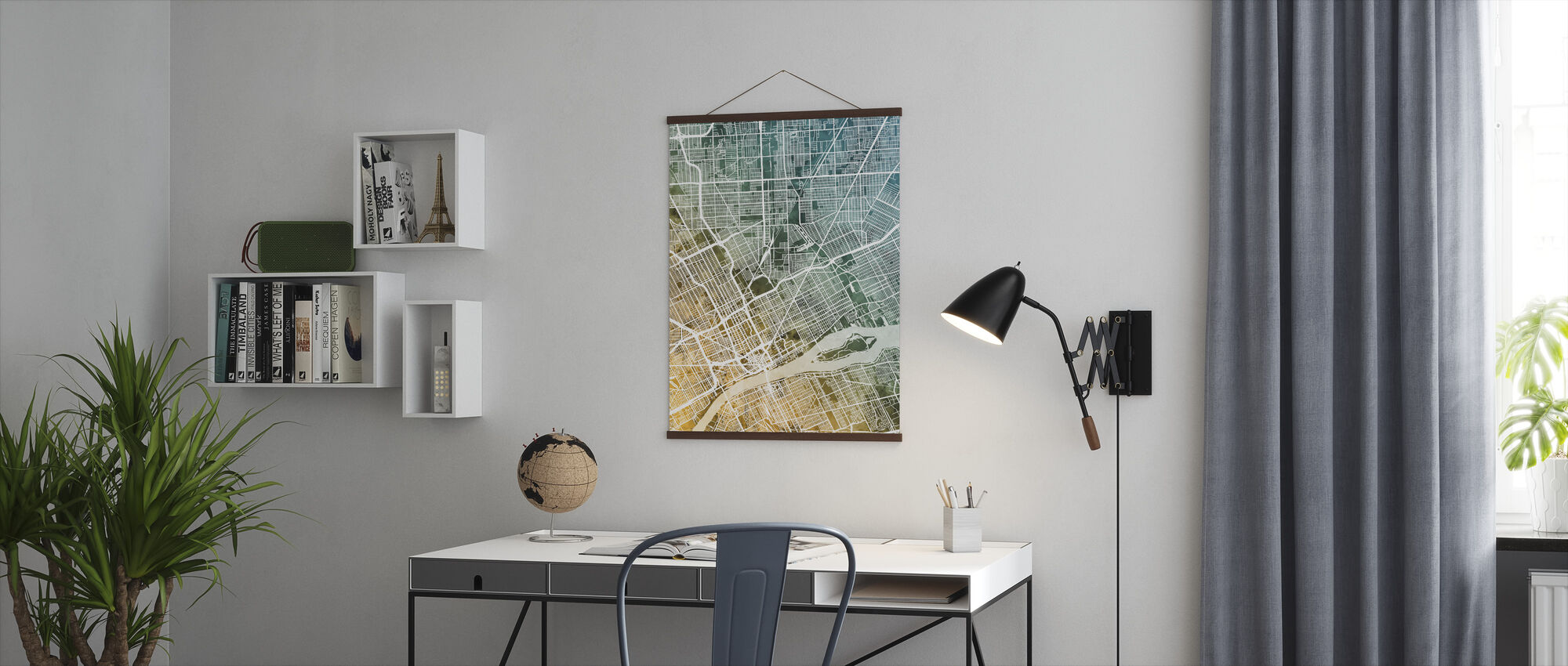 Detroit Michigan City Map - Poster - Office