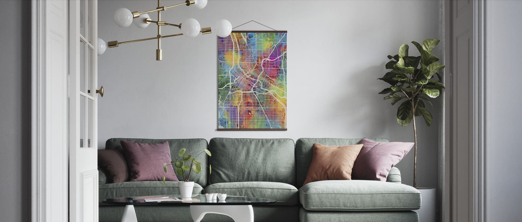 Minneapolis Minnesota City Map - Poster - Living Room