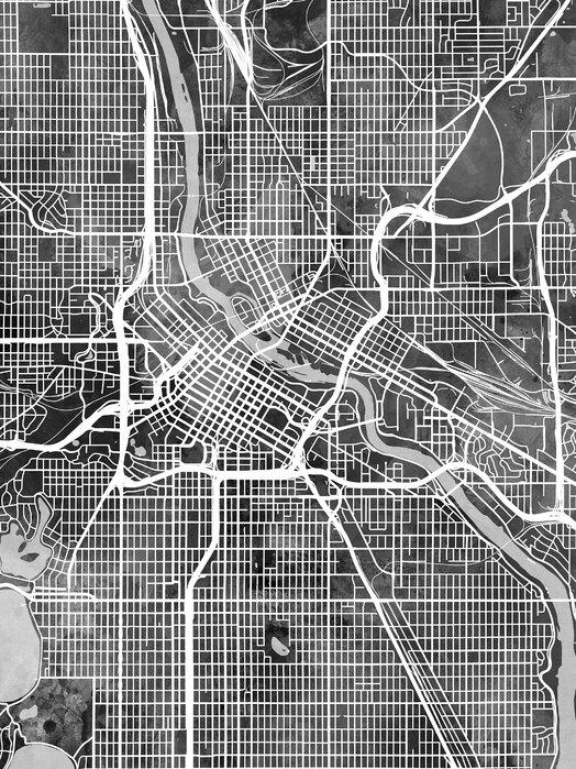 Minneapolis Minnesota City Map Stailaa Julisteella Photowall