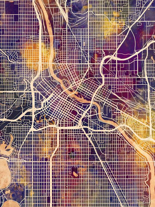 Minneapolis Minnesota City Map Sisusta Julisteella Photowall