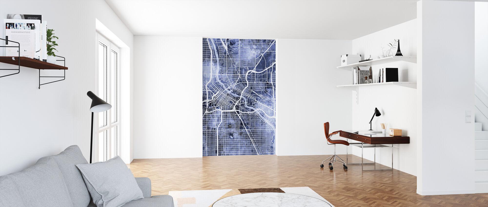 Minneapolis Minnesota Carte de la ville - Papier peint - Bureau