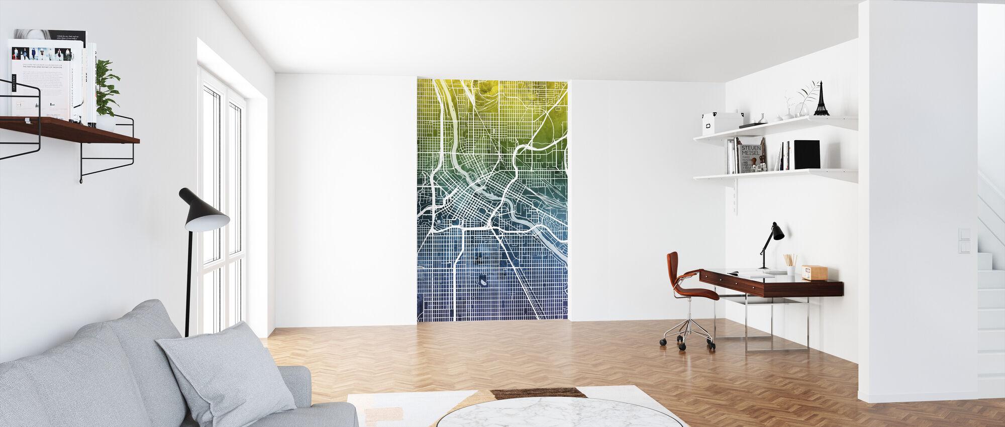 Minneapolis Minnesota City Kaart - Behang - Kantoor