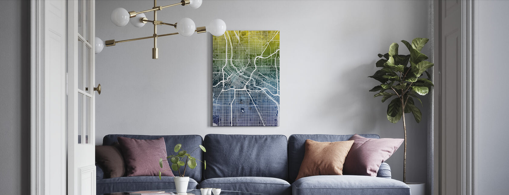 Minneapolis Minnesota City Kaart - Canvas print - Woonkamer