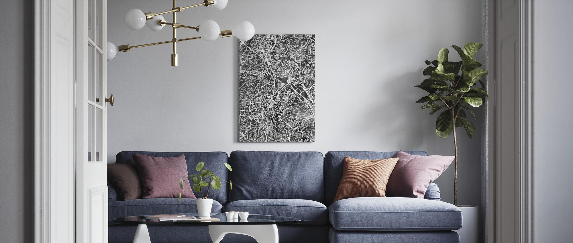 Stuttgart Tyskland City Karta - Canvastavla - Vardagsrum