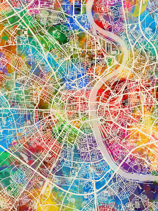 Cologne Germany City Map Canvakselle Painettu Designtaulu