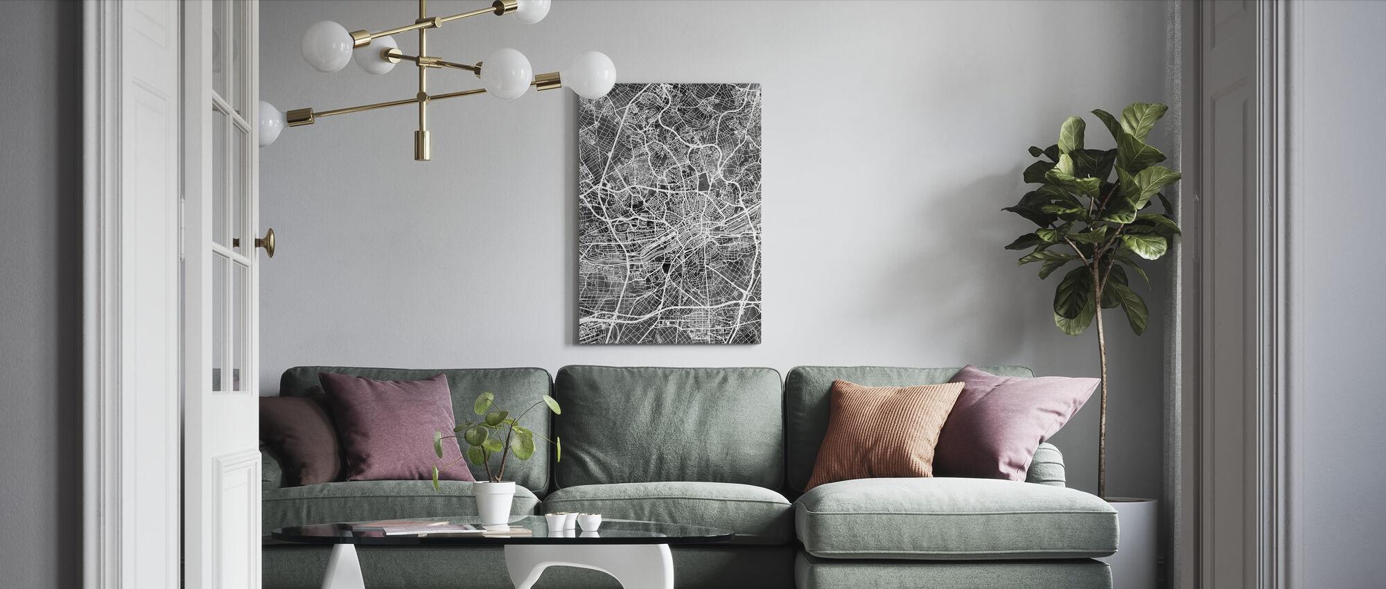 Frankfurt Tyskland City Karta - Canvastavla - Vardagsrum