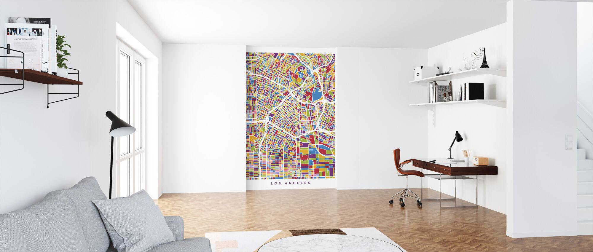 Los Angeles City Street Kaart - Behang - Kantoor