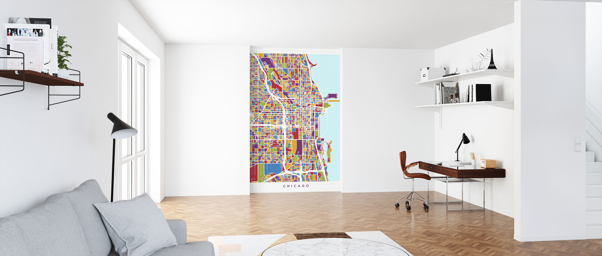 Chicago City Street Kaart - Behang - Kantoor