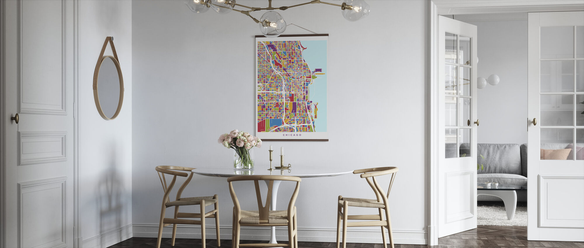 Chicago City Street Kaart - Poster - Keuken