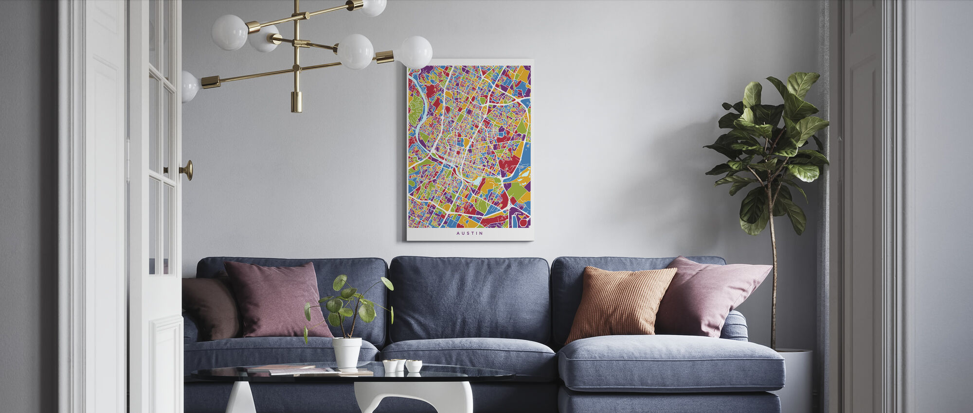 Austin Texas City Map - Canvas print - Living Room