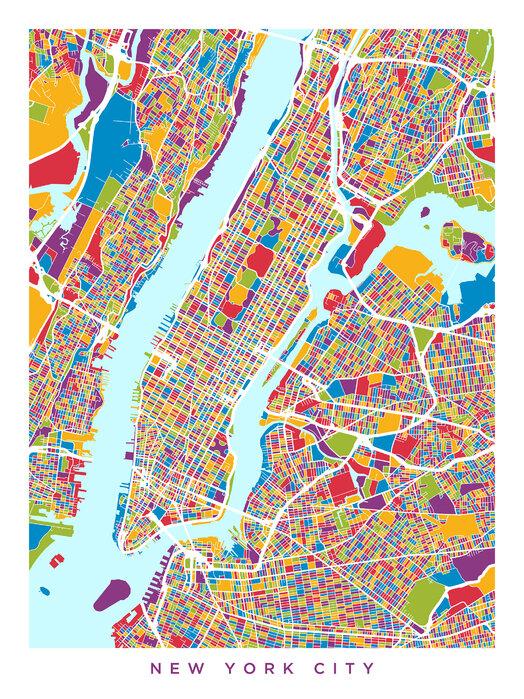 New York City Street Map Prisvenligt Billede Pa Laerred Online