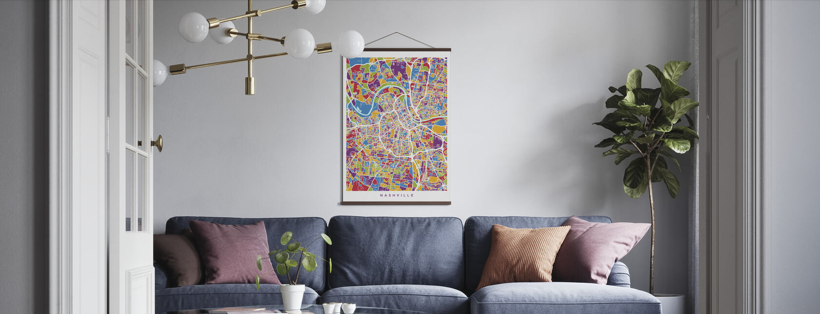 Nashville Tennessee City Map - Poster - Living Room