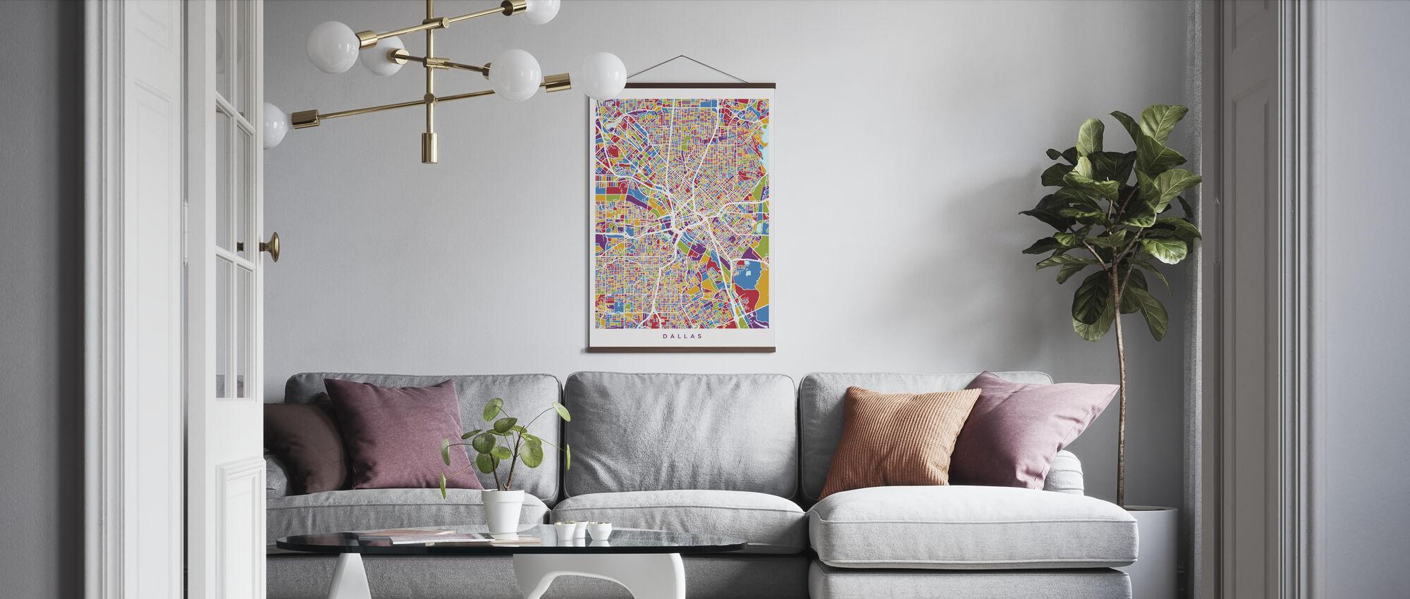 Dallas Texas City Map - Poster - Living Room