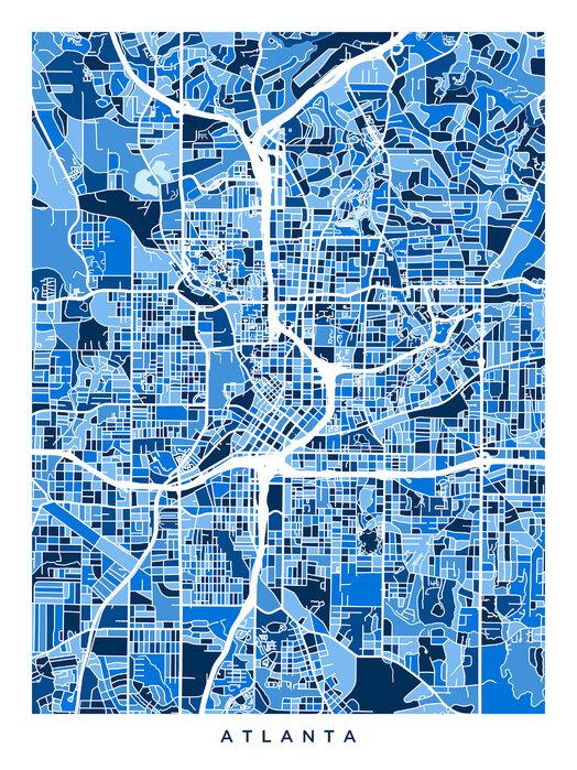 Atlanta Georgia City Map – Stimmungsvolles Leinwandbild ...
