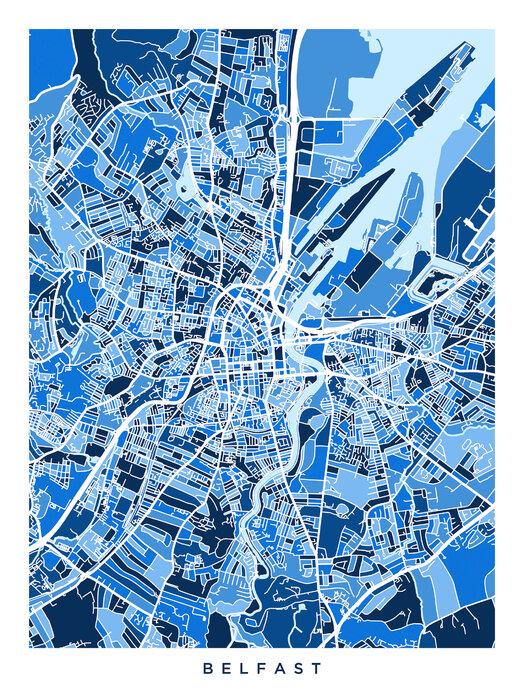 Belfast Northern Ireland City Map Stailaa Canvastaululla Photowall